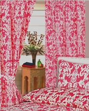"""66""""x72"""" CURTAINS DAMASK PINK WHITE FLORAL LEAVES FUCHSIA CERISE WITH TIE BACKS"""