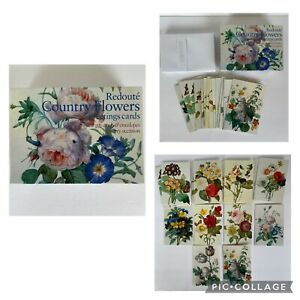 Redoute Country Flowers Note Cards 14 Cards + 17 Envelopes in Box Peony Press