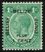 SG 138 BRITISH HONDURAS 1932 BELIZE REFIEF FUND - 1c + 1c GREEN - MOUNTED MINT