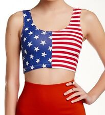 AMERICAN APPAREL Cotton Spandex Crop Top American Flag 4th of July USA Large