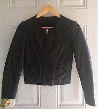 Muubaa Mao Collarless Black Genuine Leather Jacket