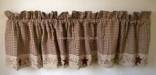 STARS and BERRY VINES Country Primitive Cotton Window Valance Burgundy Check