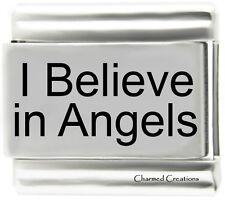 I Believe In Angels 9mm Italian Charm Stainless Steel Modular Laser Link God