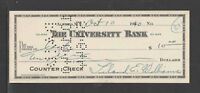 1940 UNIVERSITY BANK ALFRED NY ANTIQUE WHITE WW II BANK CHECK