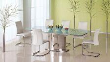 Exklusiver Esstisch Glastisch Säulentisch Edelstahl AUSZIEHBAR 100x160-240cm