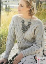 KNITTING PATTERN Ladies Chunky Cable Jumper Square Neck Sweater Sublime PATTERN
