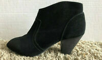 ALDO Black Suede Round Toe Side Zip Heel Ankle Boots Womens Size 6 booties