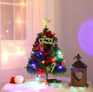 Mini Christmas Tree With Lights Small Accessories Bow Bells Pine Cone Gifts