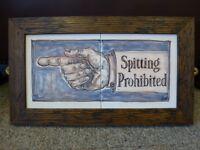 Original Majolica Medical ceramic Tile panel Old sign Pea Jayne Restall Framed