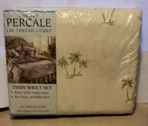 MADISON TROPICAL PALM TREES PRINT TWIN SIZE SHEETS SET~NEW~LUXURY 180 THREAD