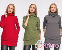 Ladies Turtleneck Top With Pockets Long Sleeve Sweat Jumper Sizes 8-14 FA471