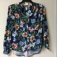 H&M Women's Size 4 Shirt  Button Down Blouse Floral Navy Long Sleeve Spring