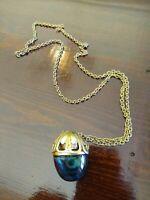Vintage AVON Blue Glass Perfume Bottle Goldtone Chain Decorative Necklace EMPTY