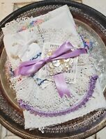 Vintage Linen Bundle 'Lavender's Blue' for Cutting and Crafting - 8 Pieces