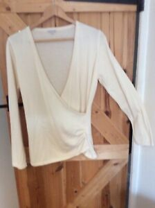 Fab KETTLEWELL Casual Cream Cotton Wool Mix Top Size L