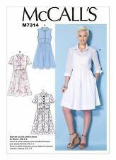 McCall's Sewing Pattern M7314 SZ 6-14 Misses Easy Pullover Shirtdresses 4 Styles