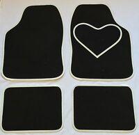 BLACK CAR MATS WHITE HEART HEEL PAD FOR FIAT 500 500L 500X BRAVA BRAVO CROMA