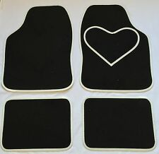 BLACK CAR MATS WHITE HEART HEEL PAD FOR VOLKSWAGEN VW PASSAT POLO SCIROCCO