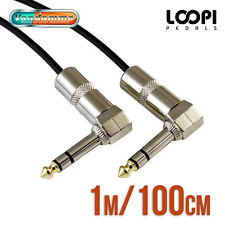 "1m 1/4"" Stereo Right Angle 6.35mm Effect Patch TRS Lead - Van Damme Cable"