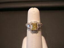 FANCY YELLOW DIAMOND ENGAGEMENT RING EMERALD CUT 1.1 CENTER 0.92 SIDE 2.11 TOTAL