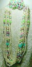"""Vintage Necklace 22"""" & Matching Clip on Earrings Pastel Colors"""
