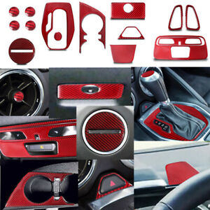 For Chevrolet Camaro Red Carbon Fiber Interior Accessories Whole Kit Cover 16-20