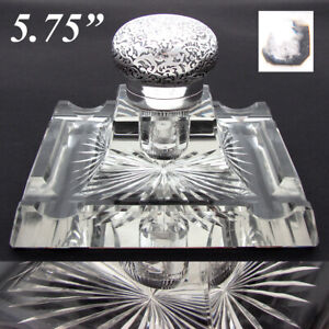 """Rare HUGE Antique French Sterling Silver & Baccarat Cut Crystal 5.75"""" Inkwell"""