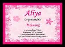Aliya Personalised Name Meaning Placemat