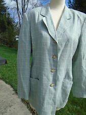 Vintage womens Blazer Talbots Classic Size 10 Green Plaid lined 80s 4 button