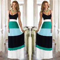 Women Summer Backless Long Maxi Evening Party Dress Patchwork Boho Beach Dress