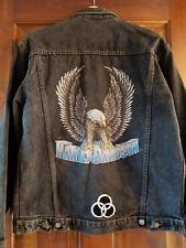 Harley Davidson Denim Jean Jacket Stonewashed Harley Eagle Back Small 1987 VTG