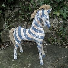 Horse Wood Carving Ornament Figure Zebra Hand Made Painted Carved Fair Trade