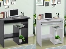 Compact Small Computer Table Wooden Desk Keyboard Tray Storage Black White NEW
