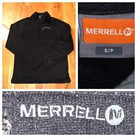 Merrell Black Knit Men's 1/2 Zip Fleece Pullover Sweater Size Small