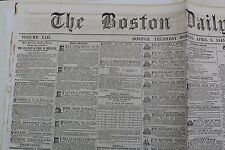 BOSTON DAILY ATLAS NEWSPAPER APRIL 3, 1845 AUCTIONS REAL ESTATE CLASSIFIEDS NEWS