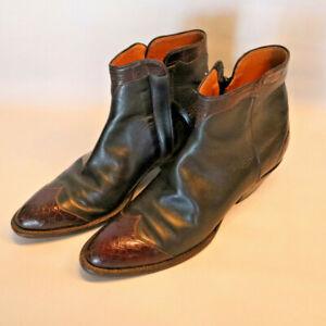 Lucchese Classics Handmade Ankle Leather Boot Alligator skin embellishments Sz 8