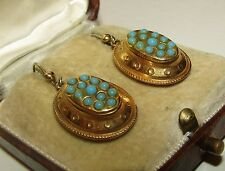 SUPERB, VICTORIAN, ETRUSCAN 9 CT GOLD EARRINGS WITH NATURAL TURQUOISE GEMS