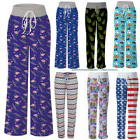 UK Womens Ladies Pyjama Bottoms Lounge Sleep PJ Pants Casual Print Yoga Trousers