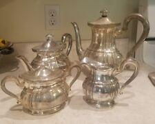 VINTAGE ALPACA SILVER PLATE TEA SET TEAPOT, COFFEE , CREAMER & LIDDED SUGAR