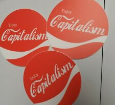 """CAPITALISM STICKERS Ayn Rand Ron Paul inspired 3 pack LOT 3"""" Round heavy duty"""