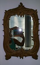 "Antique Art Nouveau Mirror - Carved Wood, Old Gilding - 21"" x 14"""