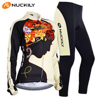 Womens Cycling Outfits Long Sleeve Jersey Pants Kits Bicycle Jacket Trousers Set