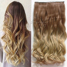 Brown-Sandy Blonde One Piece Ombre Clip in Hair Extensions Hair Straight Wavy