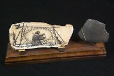 Alaskan Native American Painting On Petrified Wood By G. Olson W/Stand & Flint