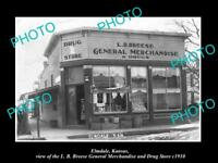 OLD LARGE HISTORIC PHOTO OF ELMDALE KANSAS, THE GENERAL & DRUG STORE c1910