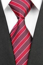 Regali per gli uomini da Uomo Classico Doppio Tono College a Righe 100% SETA Cravatta Tie Rosso
