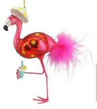 December Diamonds Flamingo w/ Tropical Hat & Drink Glass Christmas Ornament