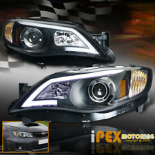 For 2008-2014 Subaru Impreza WRX Projector Glow LED Strip Headlights Black