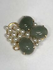 And Pearl Brooch Absolutely stunning. Estate 14k Yellow Gold Jade