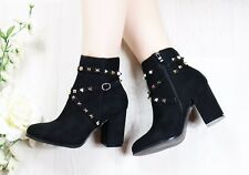 LADIES WOMENS STUDDED ANKLE BOOTS CHUNKY MID LOW BLOCK HEEL BOOTS ZIP SHOES SIZE